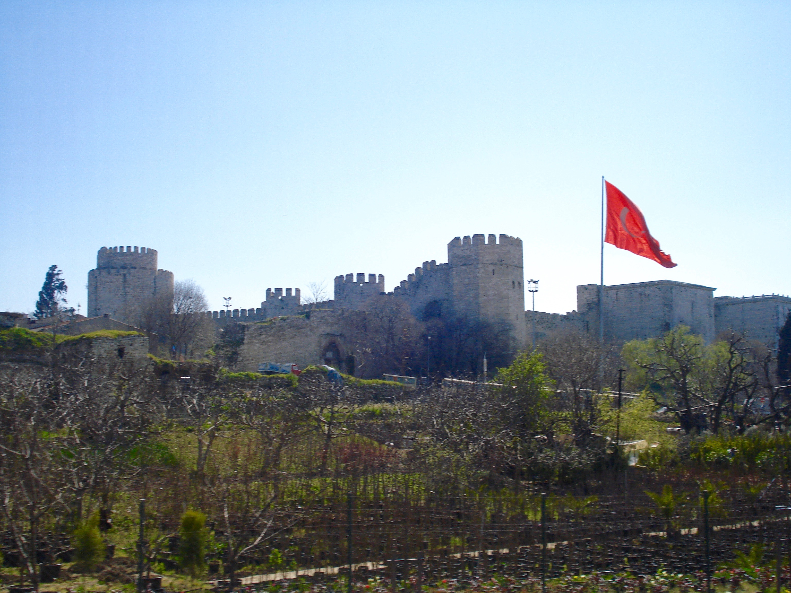 Istanbul medieval castle on a hilltop