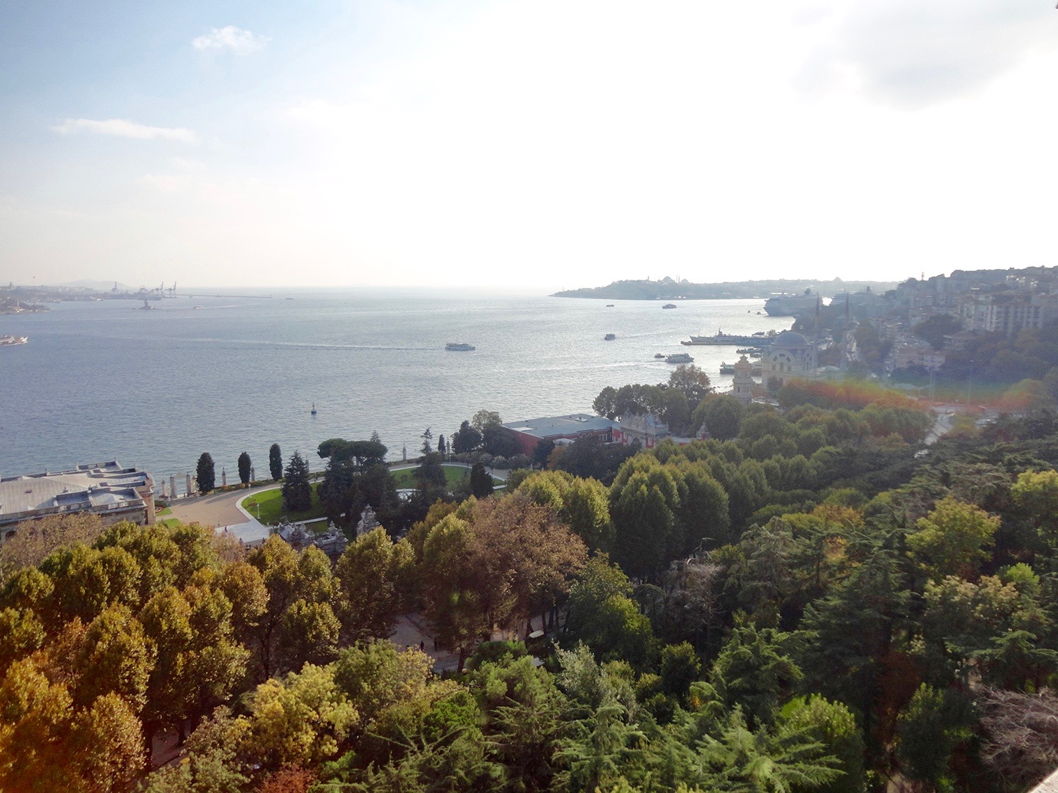 Bosphorus and city parks Istanbul Turkey from above