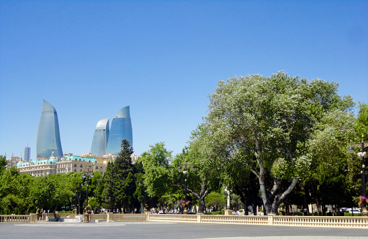Boulevard and Flame Towers Baku Azerbaijan